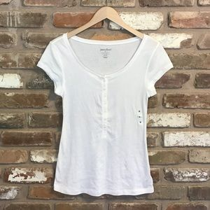 OLD NAVY Henley Perfect Tee White Top NEW